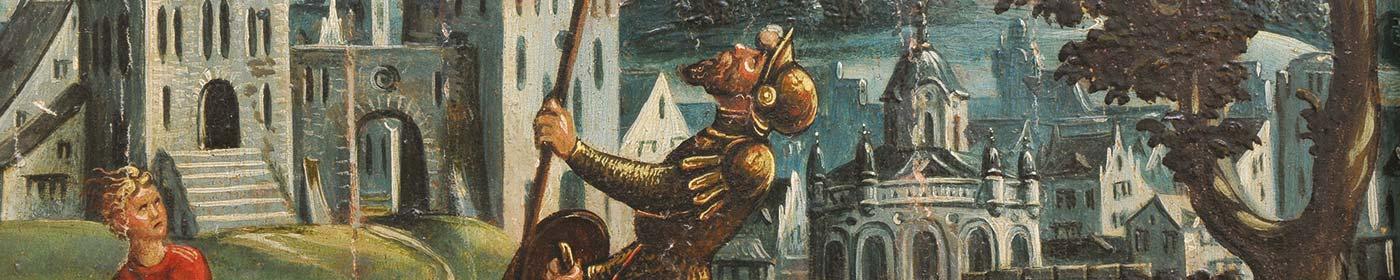 Gemälde Epitaph Detail David besiegt Goliath in der St. Marienkirche