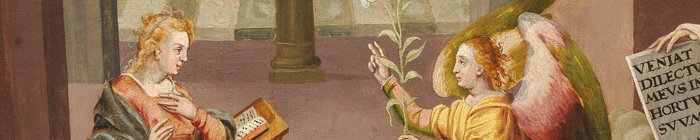 DetailansichtMarienkirche des Gemäldes Mariä Verklündigung in der St. Marienkirche