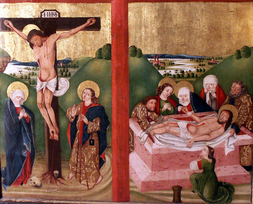 Gotischer Altar mit Kreuzigungs und Grablegungsmalerei